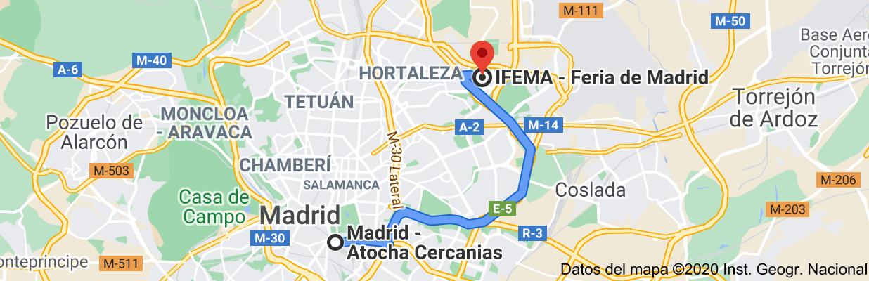 Mapa con la ruta desde Atocha a Aranjuez, Madrid, España